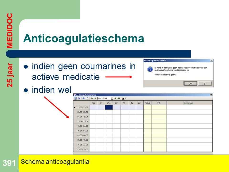 Anticoagulatieschema  indien geen coumarines in actieve medicatie  indien wel 391 Schema anticoagulantia 25 jaar MEDIDOC