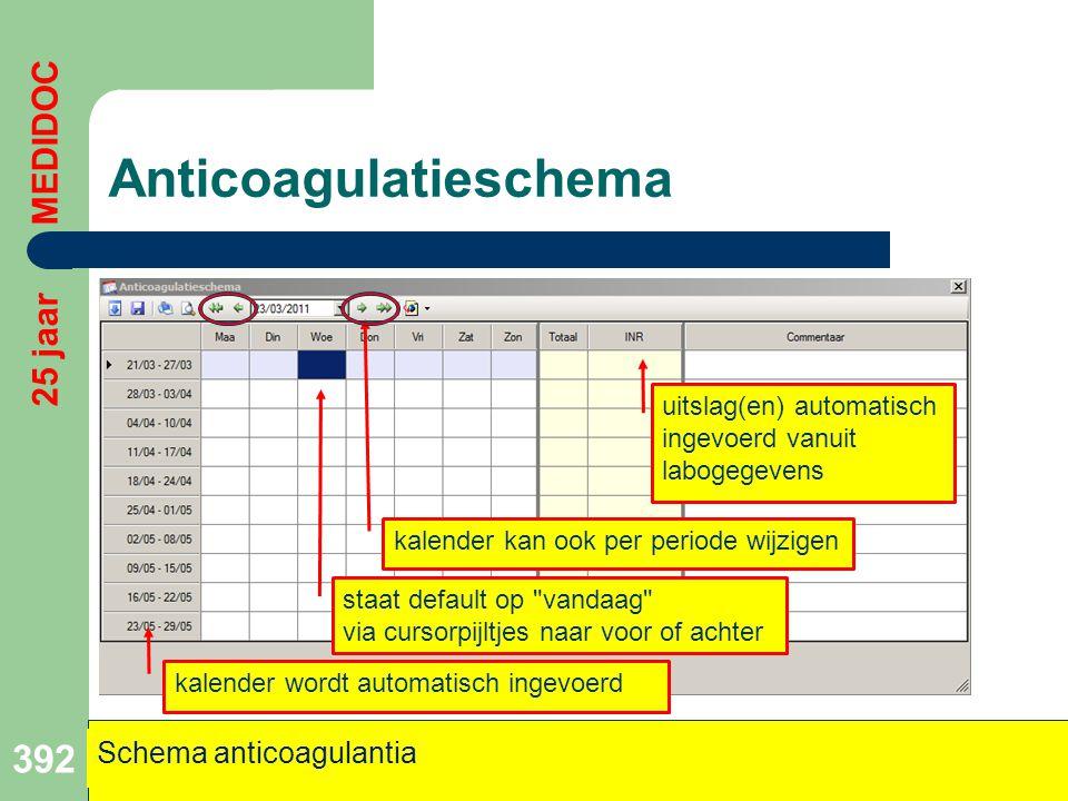 Anticoagulatieschema 392 kalender wordt automatisch ingevoerd staat default op