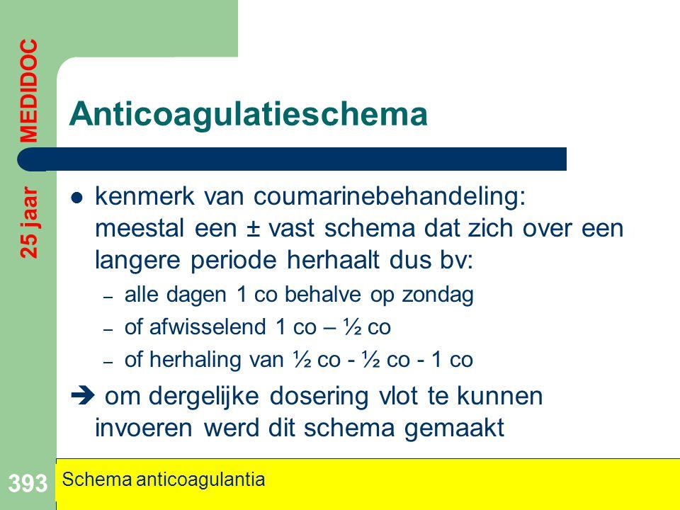 Anticoagulatieschema  kenmerk van coumarinebehandeling: meestal een ± vast schema dat zich over een langere periode herhaalt dus bv: – alle dagen 1 c