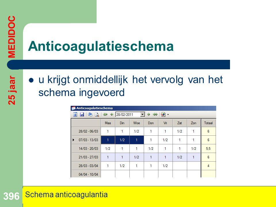 Anticoagulatieschema  u krijgt onmiddellijk het vervolg van het schema ingevoerd 396 Schema anticoagulantia 25 jaar MEDIDOC