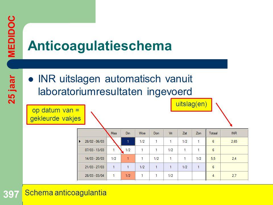 Anticoagulatieschema  INR uitslagen automatisch vanuit laboratoriumresultaten ingevoerd 397 uitslag(en) op datum van = gekleurde vakjes Schema antico