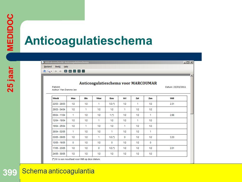 Anticoagulatieschema 399 Schema anticoagulantia 25 jaar MEDIDOC