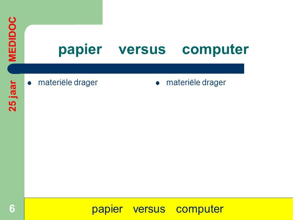 papier versus computer  materiële drager 6 papier versus computer 25 jaar MEDIDOC