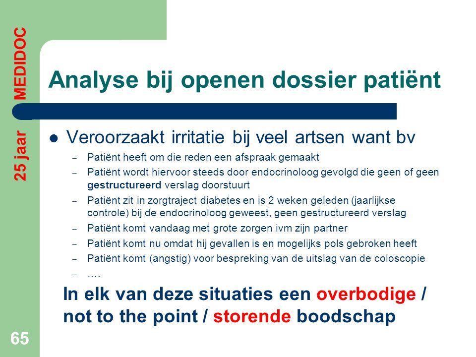Analyse bij openen dossier patiënt  Veroorzaakt irritatie bij veel artsen want bv – Patiënt heeft om die reden een afspraak gemaakt – Patiënt wordt h