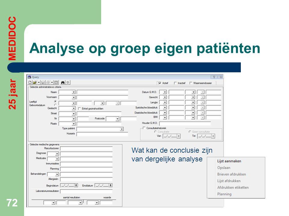 Analyse op groep eigen patiënten 72 25 jaar MEDIDOC Wat kan de conclusie zijn van dergelijke analyse