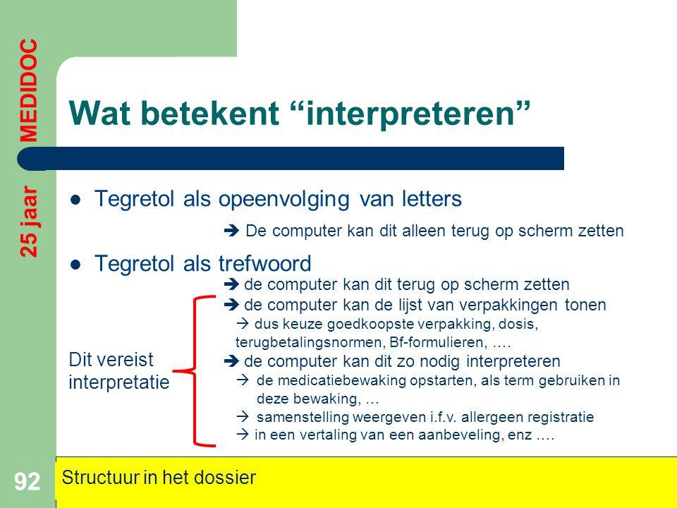 """Wat betekent """"interpreteren""""  Tegretol als opeenvolging van letters  Tegretol als trefwoord 92 25 jaar MEDIDOC Structuur in het dossier  De compute"""