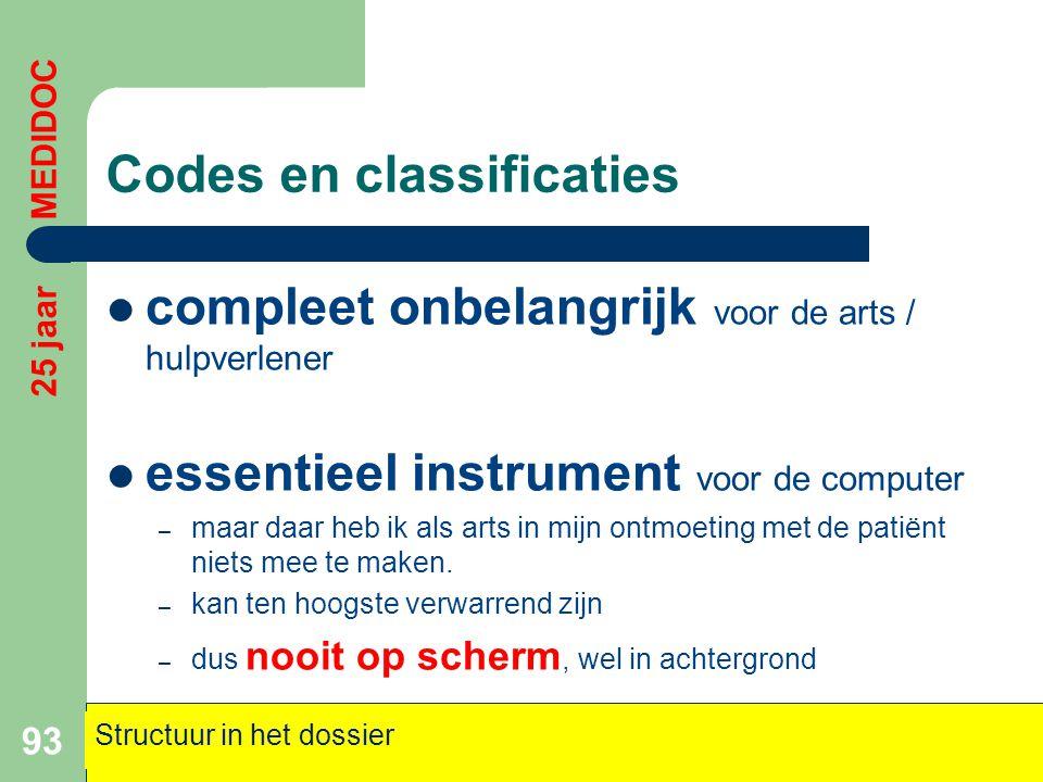 Codes en classificaties  compleet onbelangrijk voor de arts / hulpverlener  essentieel instrument voor de computer – maar daar heb ik als arts in mi
