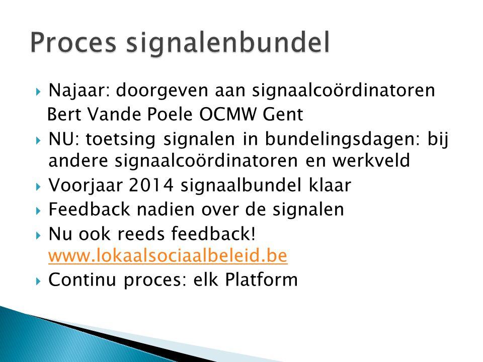  Najaar: doorgeven aan signaalcoördinatoren Bert Vande Poele OCMW Gent  NU: toetsing signalen in bundelingsdagen: bij andere signaalcoördinatoren en