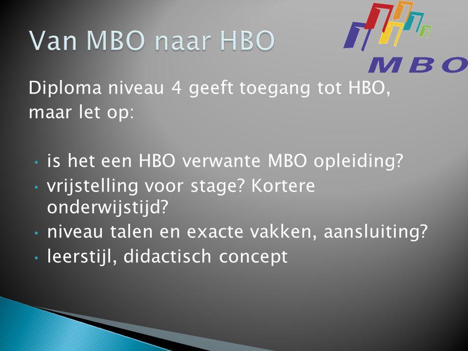 Diploma niveau 4 geeft toegang tot HBO, maar let op: • is het een HBO verwante MBO opleiding.
