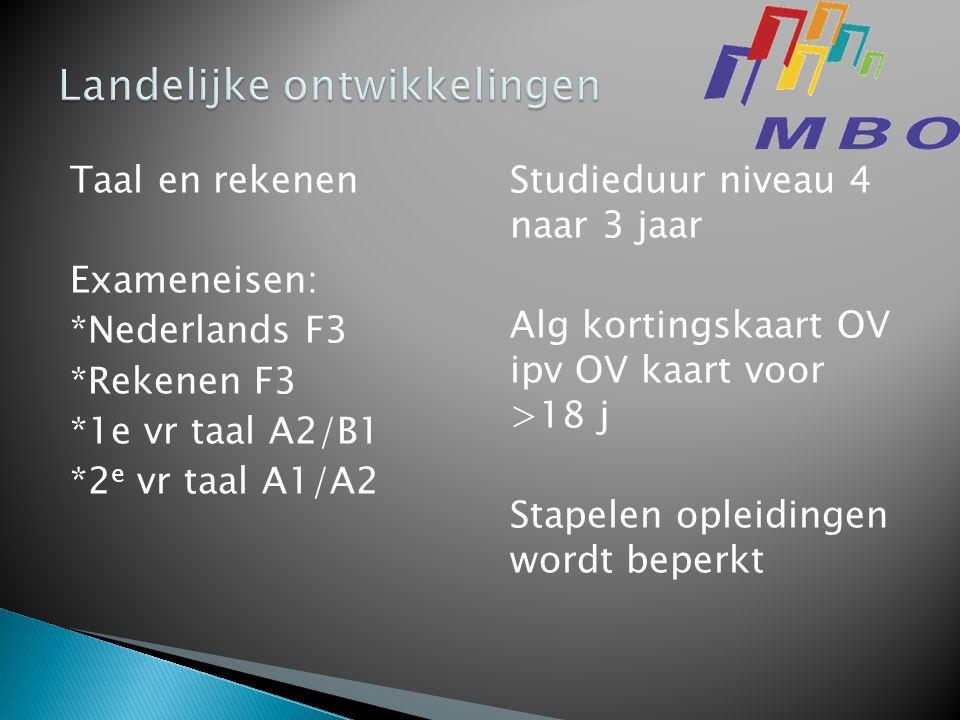 Taal en rekenen Exameneisen: *Nederlands F3 *Rekenen F3 *1e vr taal A2/B1 *2 e vr taal A1/A2 Studieduur niveau 4 naar 3 jaar Alg kortingskaart OV ipv OV kaart voor >18 j Stapelen opleidingen wordt beperkt