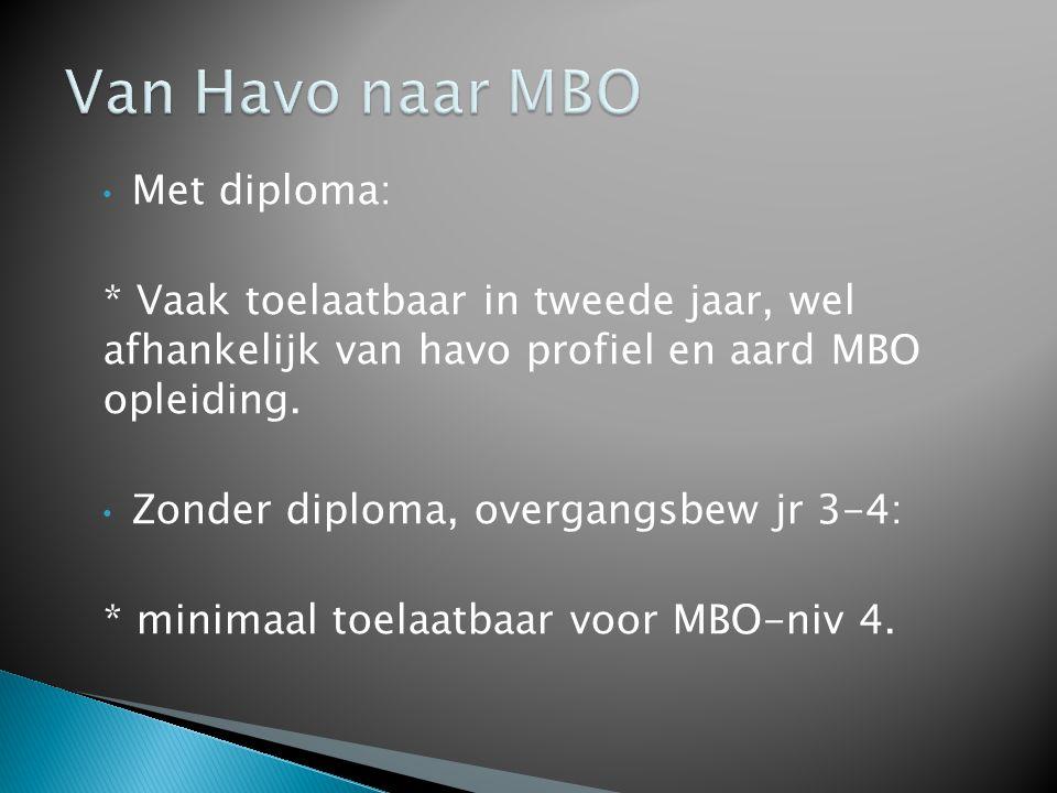 • Met diploma: * Vaak toelaatbaar in tweede jaar, wel afhankelijk van havo profiel en aard MBO opleiding.
