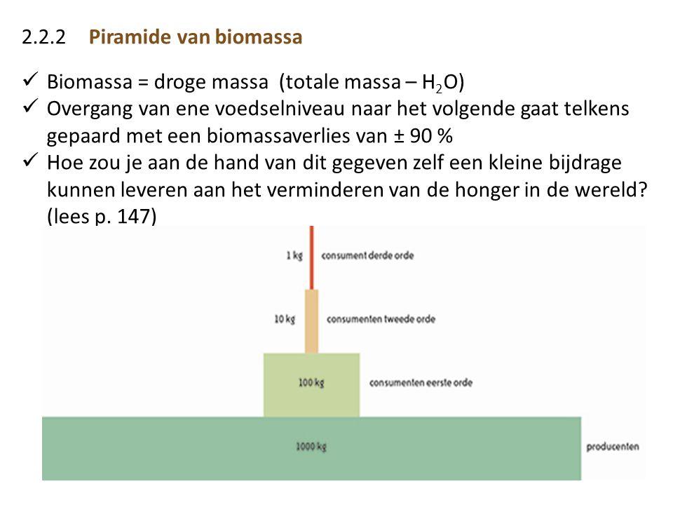 2.2.2Piramide van biomassa  Biomassa = droge massa (totale massa – H 2 O)  Overgang van ene voedselniveau naar het volgende gaat telkens gepaard met