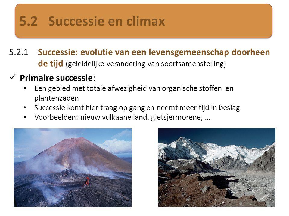 5.2Successie en climax 5.2.1Successie: evolutie van een levensgemeenschap doorheen de tijd (geleidelijke verandering van soortsamenstelling)  Primair