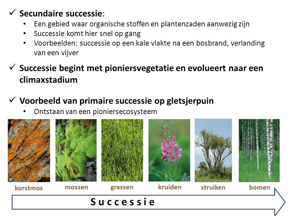  Secundaire successie: • Een gebied waar organische stoffen en plantenzaden aanwezig zijn • Successie komt hier snel op gang • Voorbeelden: successie