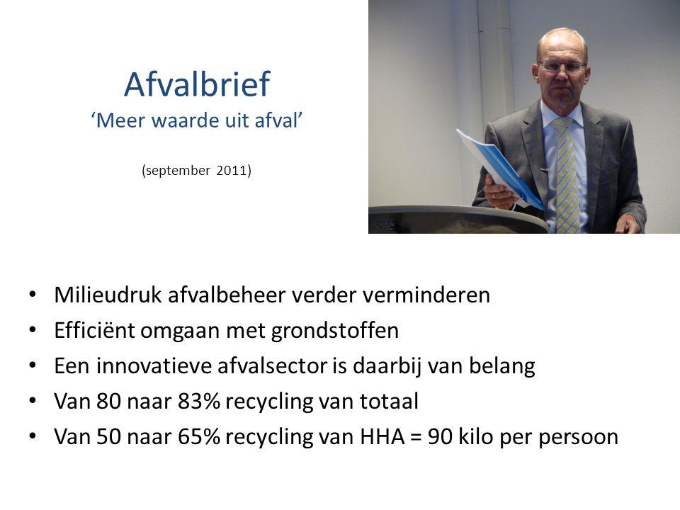Afvalbrief 'Meer waarde uit afval' (september 2011) • Milieudruk afvalbeheer verder verminderen • Efficiënt omgaan met grondstoffen • Een innovatieve