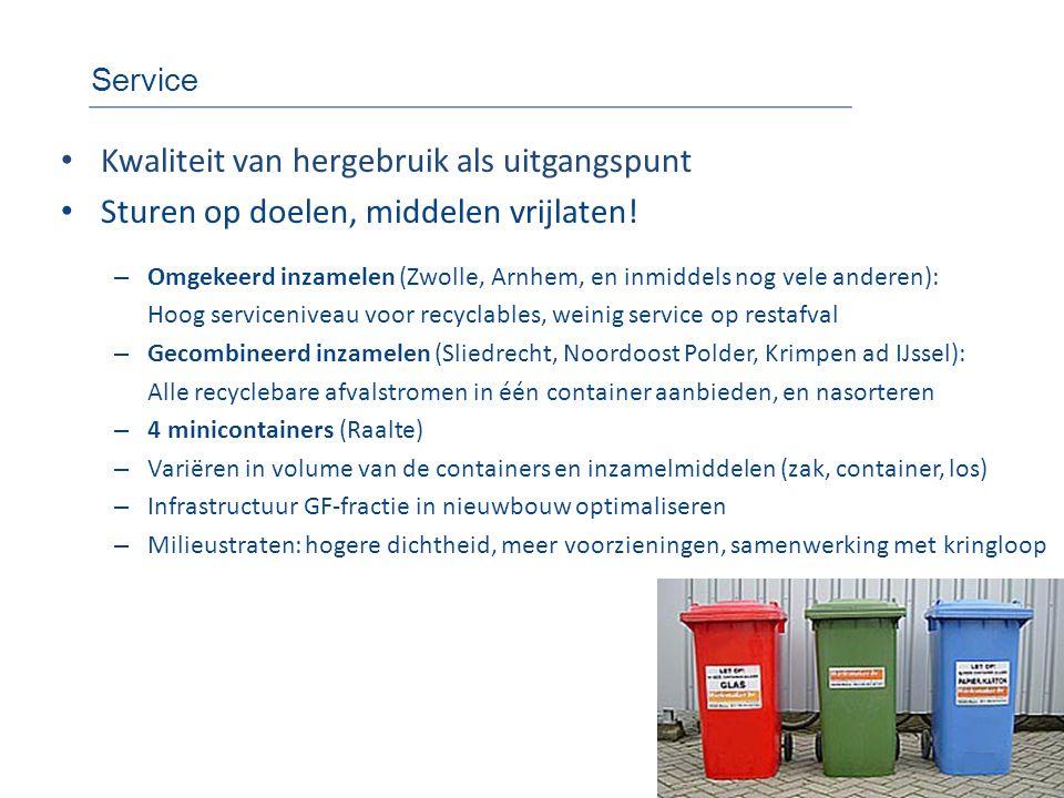 Service • Kwaliteit van hergebruik als uitgangspunt • Sturen op doelen, middelen vrijlaten! – Omgekeerd inzamelen (Zwolle, Arnhem, en inmiddels nog ve