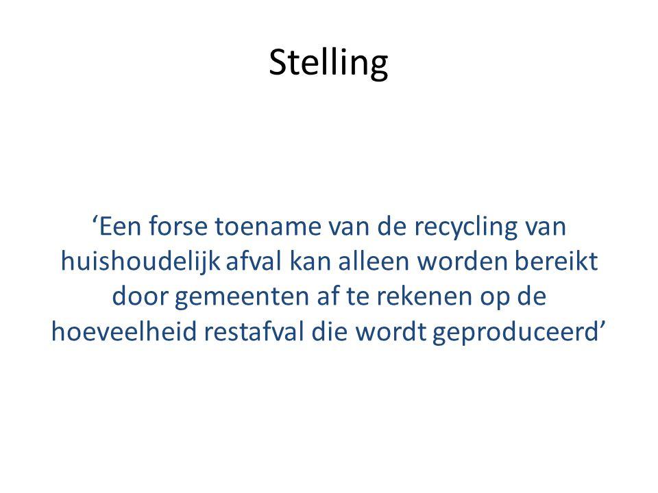 Stelling 'Een forse toename van de recycling van huishoudelijk afval kan alleen worden bereikt door gemeenten af te rekenen op de hoeveelheid restafva