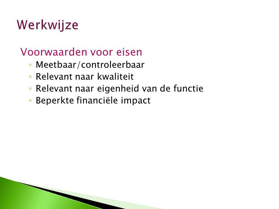 Voorwaarden voor eisen ◦ Meetbaar/controleerbaar ◦ Relevant naar kwaliteit ◦ Relevant naar eigenheid van de functie ◦ Beperkte financiële impact