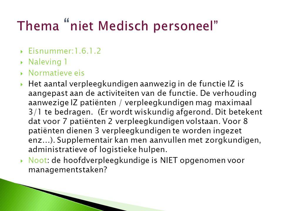  Eisnummer:1.6.1.2  Naleving 1  Normatieve eis  Het aantal verpleegkundigen aanwezig in de functie IZ is aangepast aan de activiteiten van de func