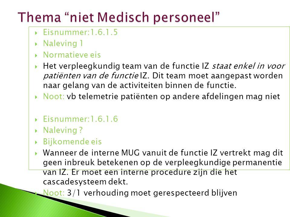  Eisnummer:1.6.1.5  Naleving 1  Normatieve eis  Het verpleegkundig team van de functie IZ staat enkel in voor patiënten van de functie IZ. Dit tea
