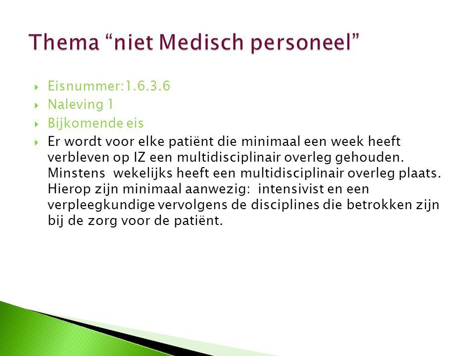 Eisnummer:1.6.3.6  Naleving 1  Bijkomende eis  Er wordt voor elke patiënt die minimaal een week heeft verbleven op IZ een multidisciplinair overl