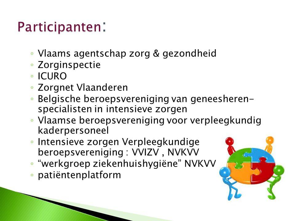 ◦ Vlaams agentschap zorg & gezondheid ◦ Zorginspectie ◦ ICURO ◦ Zorgnet Vlaanderen ◦ Belgische beroepsvereniging van geneesheren- specialisten in inte