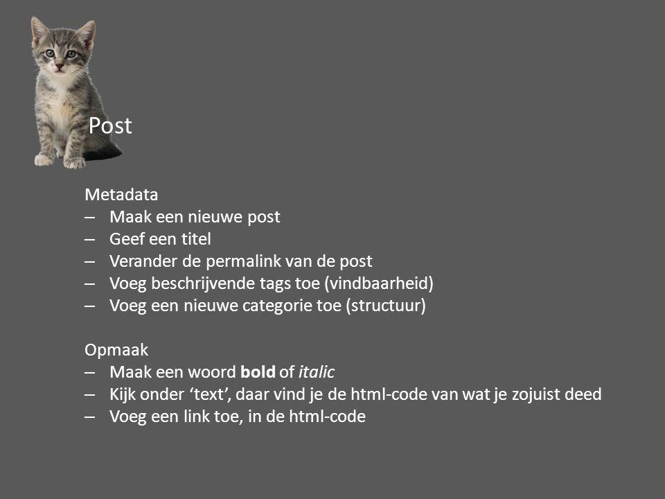 Metadata –Maak een nieuwe post –Geef een titel –Verander de permalink van de post –Voeg beschrijvende tags toe (vindbaarheid) –Voeg een nieuwe categorie toe (structuur) Opmaak –Maak een woord bold of italic –Kijk onder 'text', daar vind je de html-code van wat je zojuist deed –Voeg een link toe, in de html-code Post