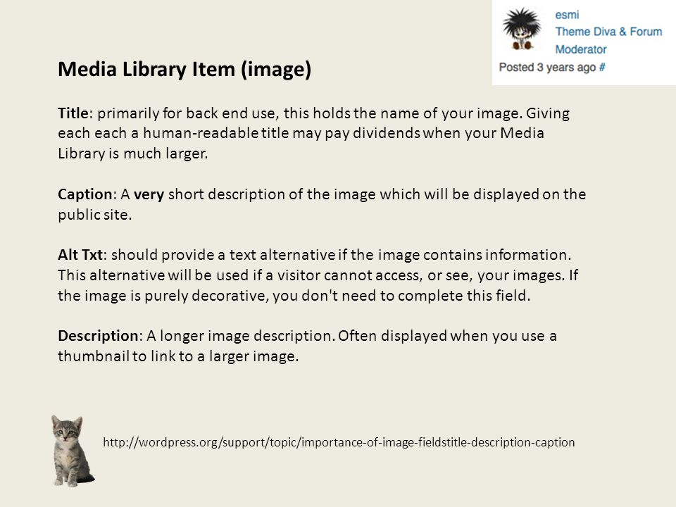 http://wordpress.org/support/topic/importance-of-image-fieldstitle-description-caption Media Library Item (image) Title: primarily for back end use, t