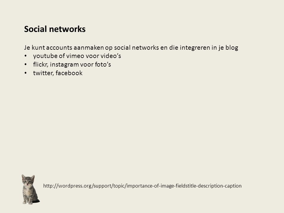 http://wordpress.org/support/topic/importance-of-image-fieldstitle-description-caption Social networks Je kunt accounts aanmaken op social networks en
