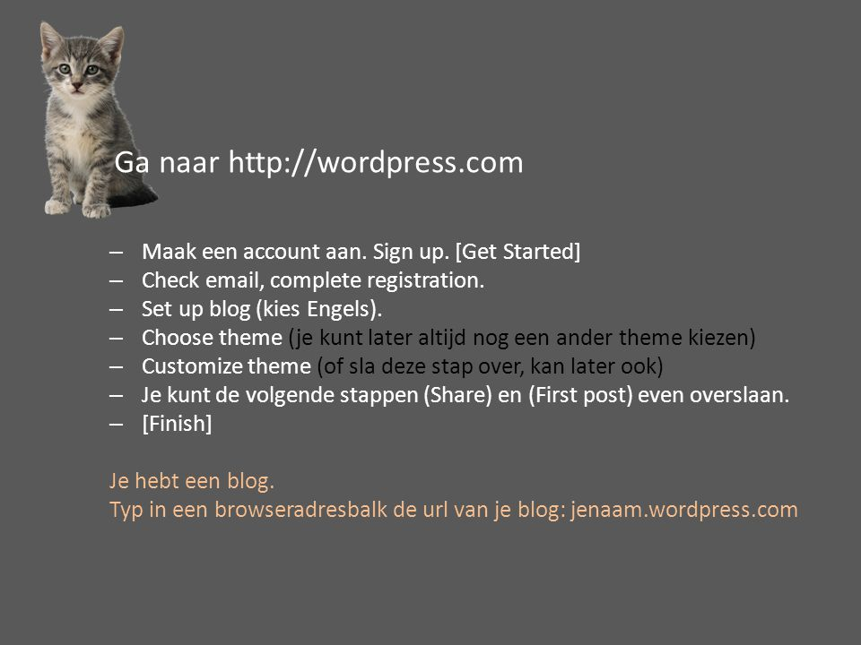 –Maak een account aan. Sign up. [Get Started] –Check email, complete registration. –Set up blog (kies Engels). –Choose theme (je kunt later altijd nog