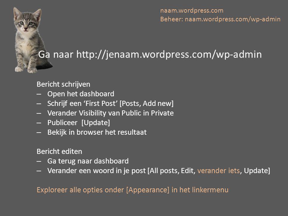 Bericht schrijven –Open het dashboard –Schrijf een 'First Post' [Posts, Add new] –Verander Visibility van Public in Private –Publiceer [Update] –Bekij