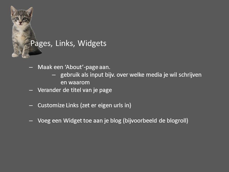 –Maak een 'About'-page aan. –gebruik als input bijv. over welke media je wil schrijven en waarom –Verander de titel van je page –Customize Links (zet