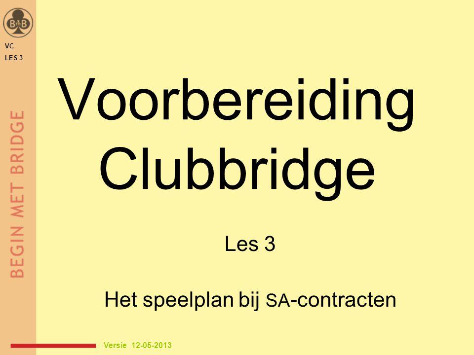 Voorbereiding Clubbridge Les 3 Het speelplan bij SA -contracten VC LES 3 Versie 12-05-2013
