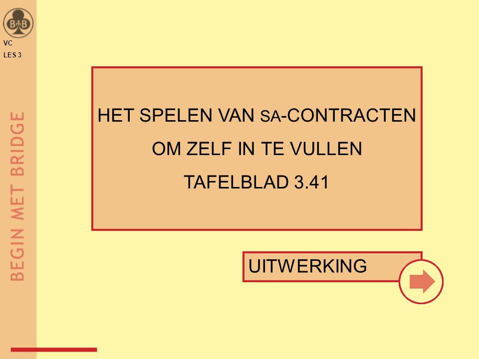 UITWERKING HET SPELEN VAN SA -CONTRACTEN OM ZELF IN TE VULLEN TAFELBLAD 3.41 VC LES 3