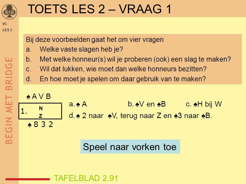 ♠ 3 ♠ A ♠V en ♠B ♠H bij W ♠ 2 naar ♠V, terug naar Z en ♠3 naar ♠B. VC LES 3 ♠ A V B ♠ 8 3 2 1. NZNZ a.b.c. d. Bij deze voorbeelden gaat het om vier vr
