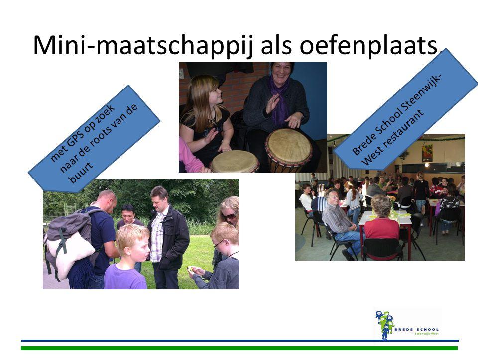 Mini-maatschappij als oefenplaats. met GPS op zoek naar de roots van de buurt Brede School Steenwijk- West restaurant