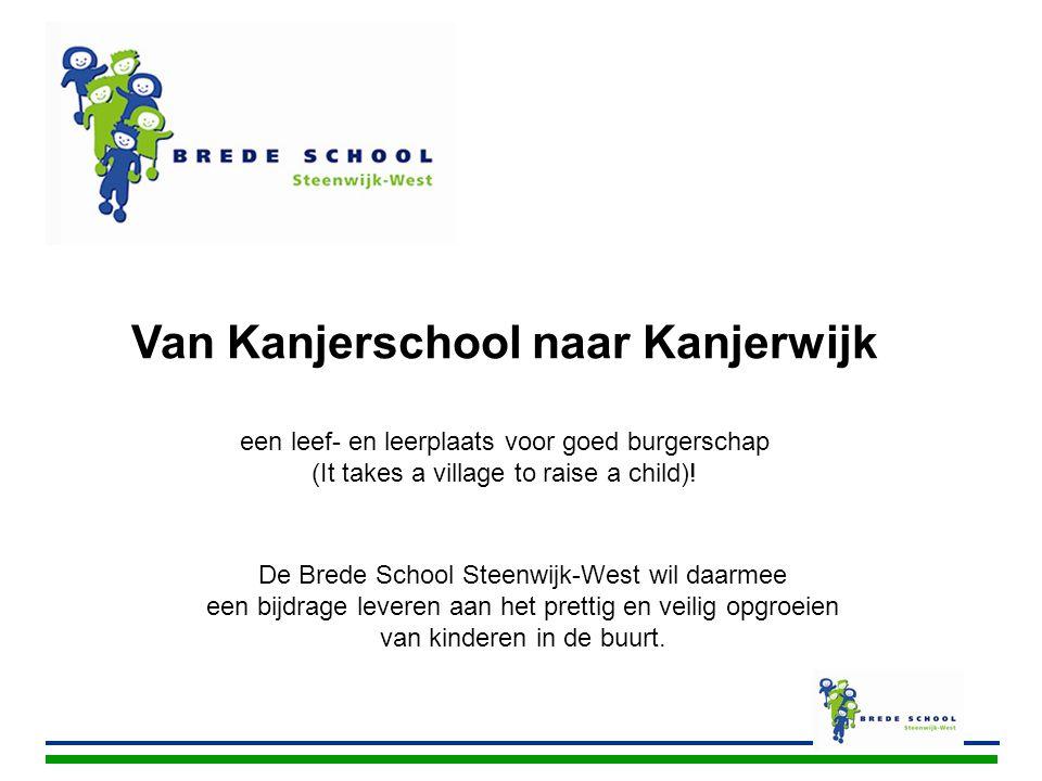 De Brede School Steenwijk-West wil daarmee een bijdrage leveren aan het prettig en veilig opgroeien van kinderen in de buurt. Van Kanjerschool naar Ka