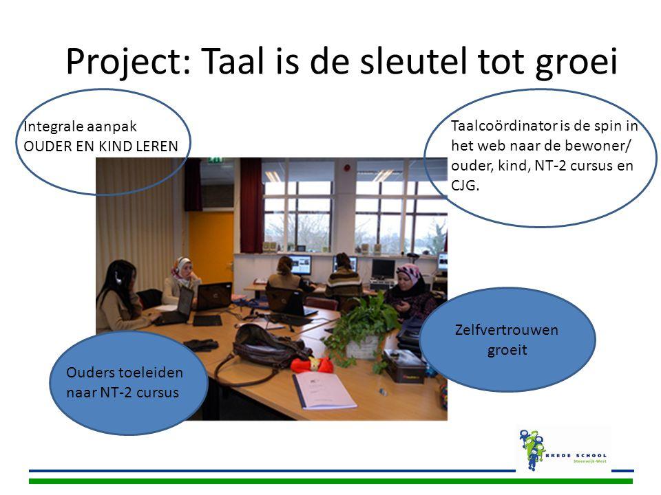 Project: Taal is de sleutel tot groei Taalcoördinator is de spin in het web naar de bewoner/ ouder, kind, NT-2 cursus en CJG. Ouders toeleiden naar NT