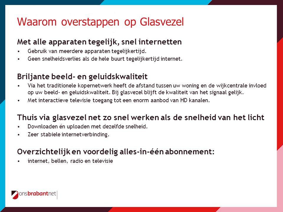 Waarom overstappen op Glasvezel Met alle apparaten tegelijk, snel internetten •Gebruik van meerdere apparaten tegelijkertijd.
