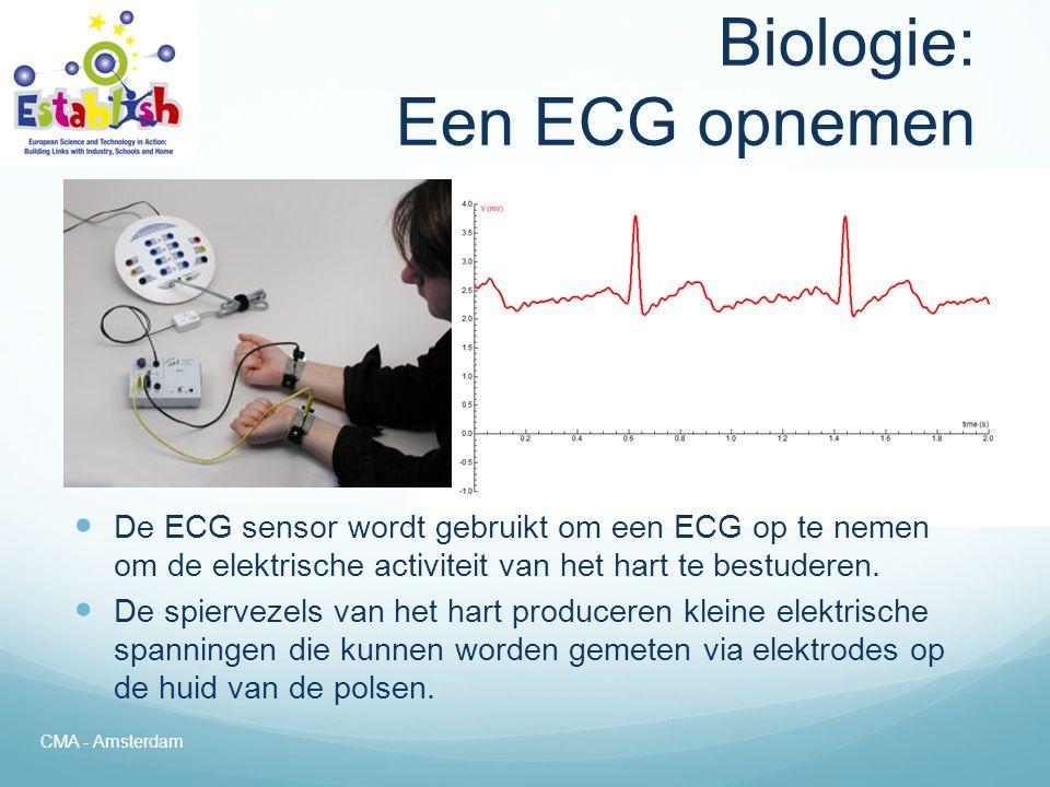 Biologie: De hartslag meten  De hartslagsensor wordt gebruikt om de hartslag te meten en in een grafiek te tonen.