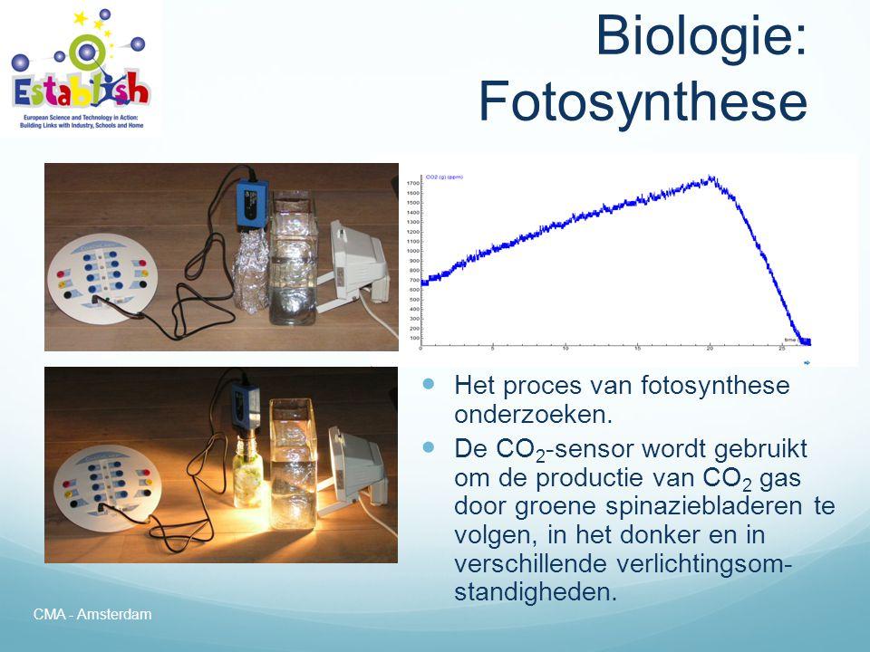 Biologie: Fotosynthese  Het volgen van de fotosynthese over een langere tijdsperiode (72 uur)  Bij dit experiment kunnen veel verschillende sensoren zoals voor O 2 (gas), CO 2 (gas), licht, temperatuur en vocht worden gebruikt.