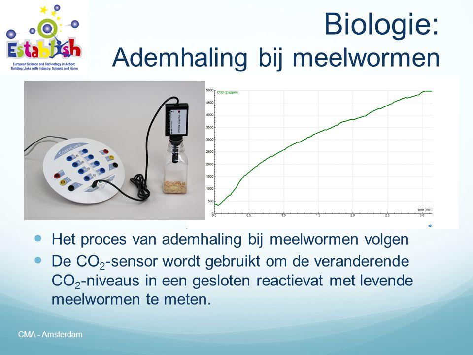 Sensoren voor Biologie  Voorbeelden van sensoren voor biologie: – CO 2 sensor – Geleidbaarheidsensor – Zuurstofsensor (vloeistof) – ECG-sensor – Hartslagsensor – Lichtsensor – Zuurstofsensor (gas) – pH-sensor – Vochtsensor – Spirometer – Bloeddruksensor – Temperatuursensor – Draaihoeksensor (voor volumes) CMA - Amsterdam