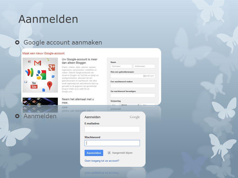 Aanmelden  Google account aanmaken  Aanmelden