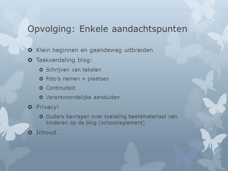 Opvolging: Enkele aandachtspunten  Klein beginnen en gaandeweg uitbreiden  Taakverdeling blog:  Schrijven van teksten  Foto's nemen + plaatsen  Continuïteit  Verantwoordelijke aanduiden  Privacy.