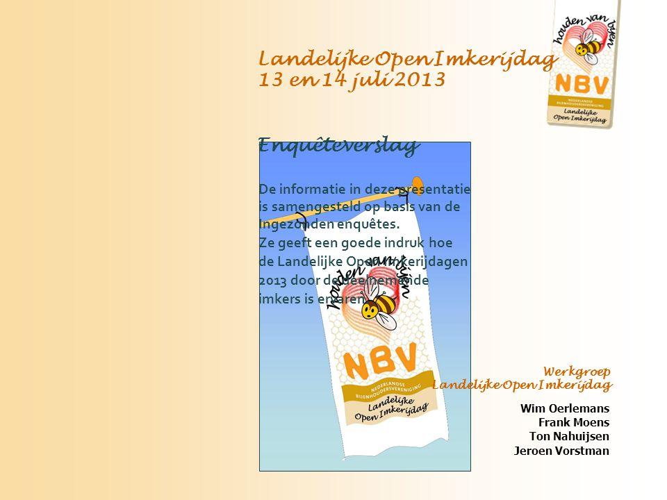 Landelijke Open Imkerijdag 13 en 14 juli 2013 Enquêteverslag De informatie in deze presentatie is samengesteld op basis van de Ingezonden enquêtes.