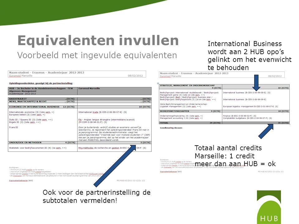 Equivalenten invullen Voorbeeld met ingevulde equivalenten Totaal aantal credits Marseille: 1 credit meer dan aan HUB = ok International Business wordt aan 2 HUB opo's gelinkt om het evenwicht te behouden Ook voor de partnerinstelling de subtotalen vermelden!