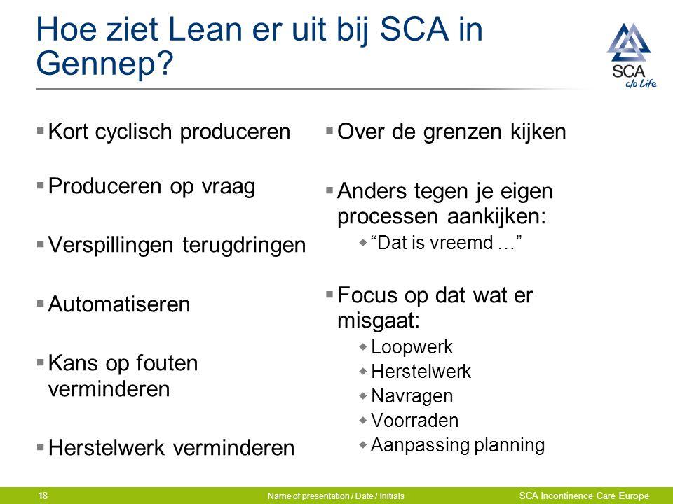 Hoe ziet Lean er uit bij SCA in Gennep?  Kort cyclisch produceren  Produceren op vraag  Verspillingen terugdringen  Automatiseren  Kans op fouten