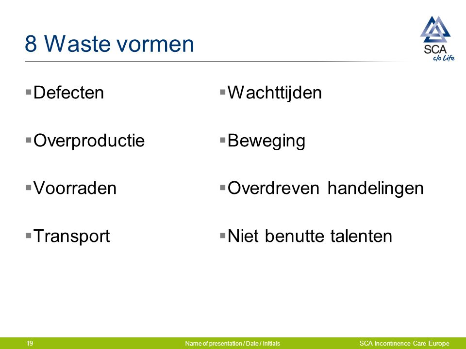 8 Waste vormen  Defecten  Overproductie  Voorraden  Transport  Wachttijden  Beweging  Overdreven handelingen  Niet benutte talenten Name of presentation / Date / Initials SCA Incontinence Care Europe19