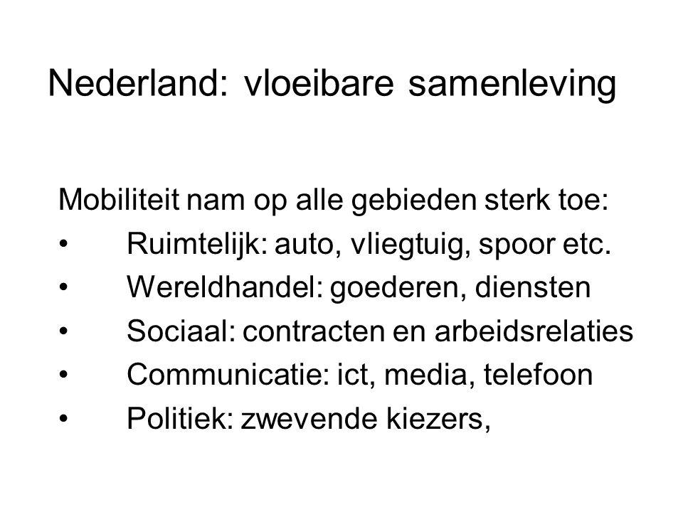 Nederland: vloeibare samenleving Mobiliteit nam op alle gebieden sterk toe: • Ruimtelijk: auto, vliegtuig, spoor etc. • Wereldhandel: goederen, dienst