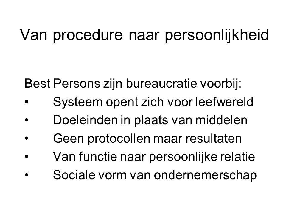 Van procedure naar persoonlijkheid Best Persons zijn bureaucratie voorbij: • Systeem opent zich voor leefwereld • Doeleinden in plaats van middelen • Geen protocollen maar resultaten • Van functie naar persoonlijke relatie • Sociale vorm van ondernemerschap